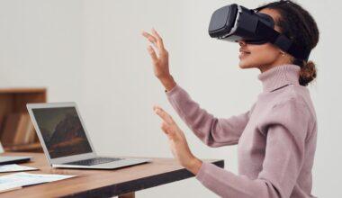 woman using virtual reality goggles to view virtual home tour